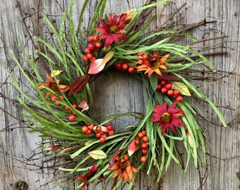 Rustic Autumn Twig Wreath with Flowers, Berries and Leaves