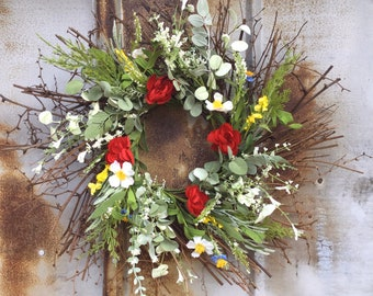 Spring Farmhouse Wreath with Red, Yellow and White Flowers