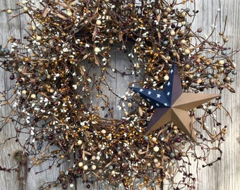 Primitive Americana Wreath with Colonial Barn Star, Patriotic Wreath,Rustic Decor,Country Decor,July 4th Wreath,Barn Star,Free Shipping