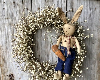 Cream Berry Wreath with Easter Bunny