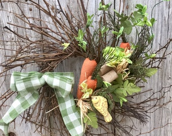 Easter Wreath with Burlap Carrots, Spring Floral and Bird Nest
