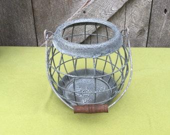 Wire Basket in Weathered Zinc -