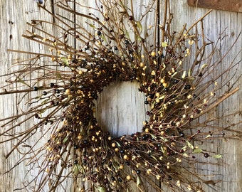Twig Sunburst Wreath with Fall Pip Berries