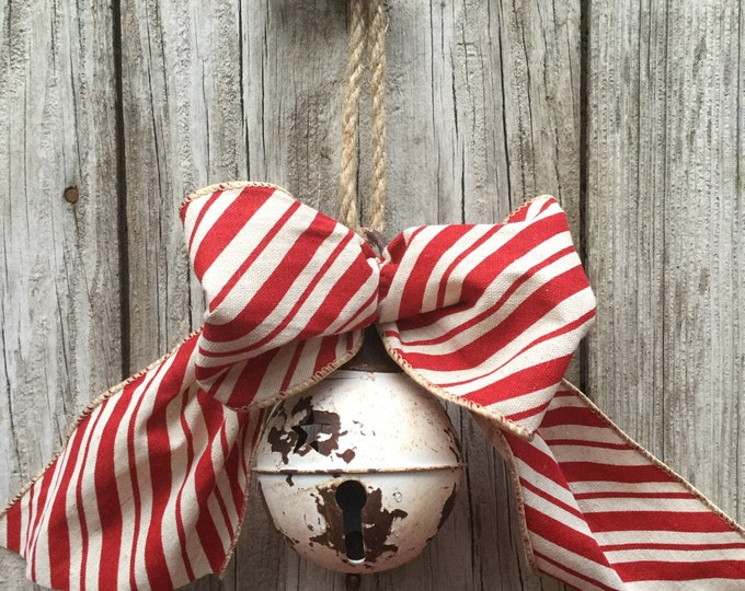 Featured listing image: Rustic White Bell with Striped Bow