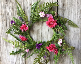 Summer Wreath with Summer Flowers and Fern