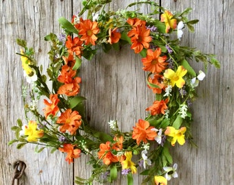 Orange and Yellow Flower Wreath