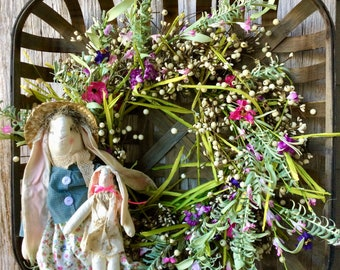 Tobacco Basket with Spring Wreath and Primitive Bunnies