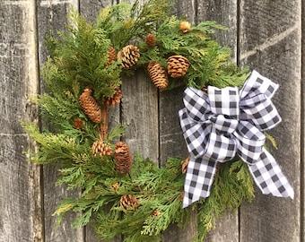 Faux Cedar Wreath with Pine Cones