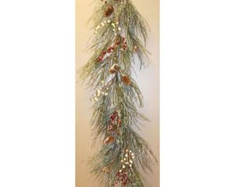 Icy Pine and Red Pip Berry Garland