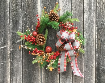 Christmas Wreath with Large Pine Cones, Large Red Jingle Bells, Large and Small Rusty Stars, Red and Cream Berries