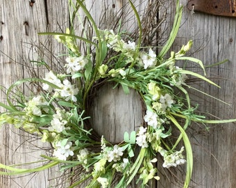 Twig Wreath with White Flowers and Greenery