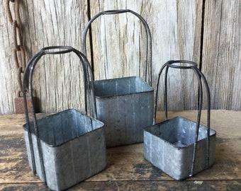 Set of 3  Galvanized Metal Baskets