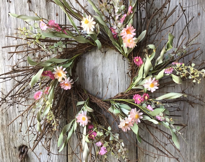 Featured listing image: Dragon Vine Wreath with Dusty Pink Spring Flowers and Greenery