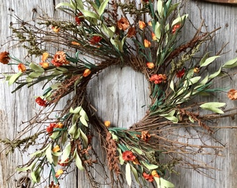 Fall Twig Wreath with Burnt Orange, Yellow and Red Flowers