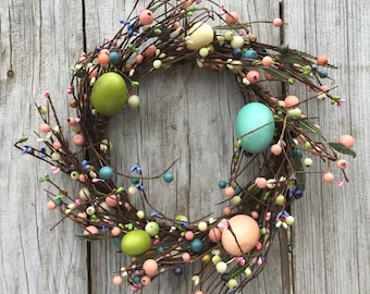 Primitive Easter Wreath with Pip Berries and Easter Eggs