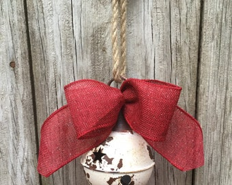 Rustic White Sleigh Bell with Red Bow