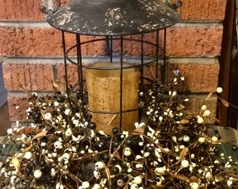 Primitive Distressed Black Lantern with Pip Berries and Flameless Candle