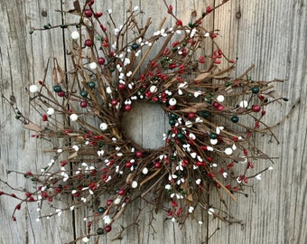Christmas Wreath with Red, Green and Cream Berries