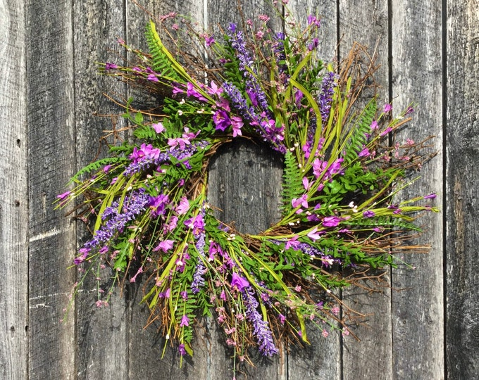 Featured listing image: Purple Farmhouse Style Wreath