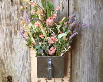 Hanging Spring Floral Arrangement, Wedding Flowers, Spring Flowers,  Farm House Decor, Rustic Decor, Rustic Wedding, Galvanized Scoop