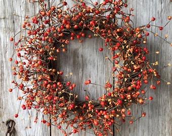 Fall Wreath with Orange Pip Berries