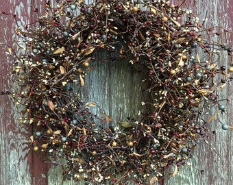 Fall Wreath with Mixed Berries of Plum, Blue, Brown and Burgundy