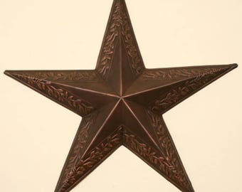 Rustic Tin Star with Embossed Berry Vine