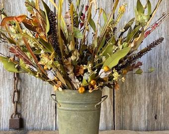 Summer Flower Arrangement in Rusty Cup