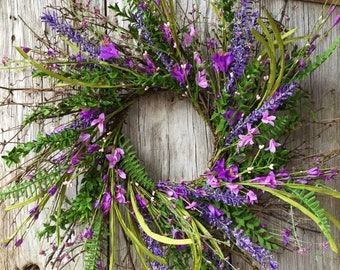 Purple Farmhouse Style Wreath
