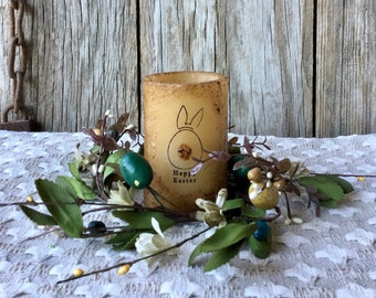 Easter Centerpiece with Flameless Candle and Easter Egg & Pip Berry Candle Ring