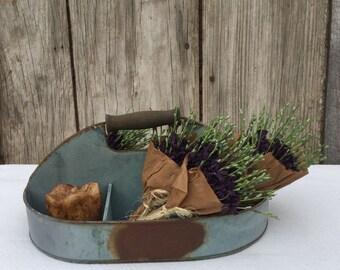 Galvanized Divided Flower Holder--Galvanized Bucket - Primitive Flower Holder- Primitive Bucket - Rustic Decor - Spring Decor- Summer Decor