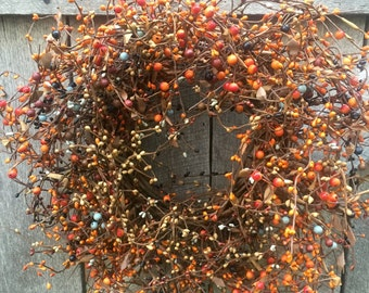 Rustic Fall Wreath with Orange Mix Pip Berries