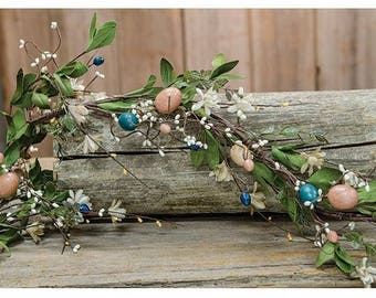 Country Easter Garland with Large Berries and Eggs