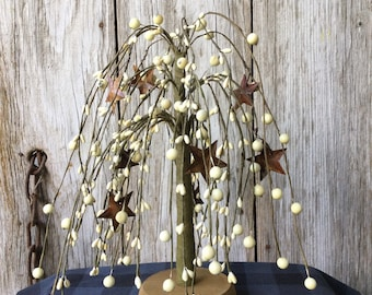 Weeping Willow Tree with Mixed Cream Berries and Rusty Stars