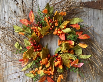 Extra Large Fall Twig Wreath with Berries and Fall Foliage