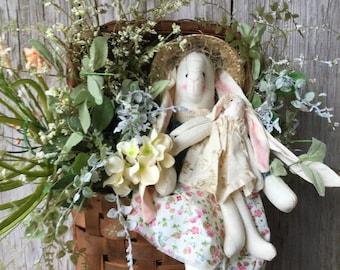 Tobacco Basket with Easter Bunnies and Spring Florals