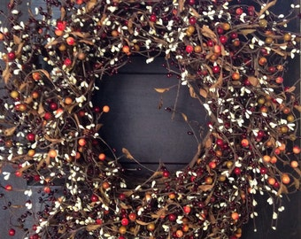 Burgundy, Rose Hip and Cream Pip Berry Wreath