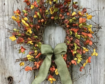 Rustic Fall Twig Wreath with Berries and Leaves