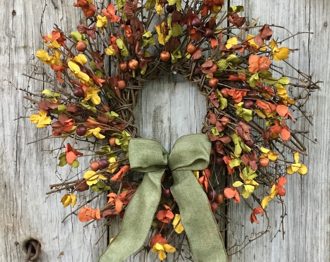 Featured listing image: Rustic Fall Twig Wreath with Berries and Leaves