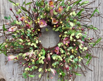 Spring Wreath with Pink Crocus and Pip Berries