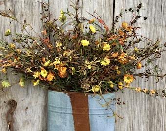 Fall Wild Flower Arrangement in Rusty Tin Wall Pocket