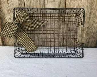 Iron and Wood Rectangular Basket in Antique Copper Finish