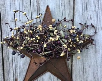 Barn Star with Burgundy, Black and Cream Pip Berries