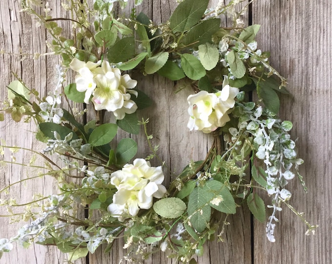 Featured listing image: Cream Hydrangea and Mixed Greenery Candle Ring