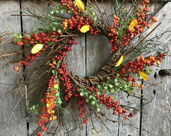 Primitive Fall Twig Wreath with  Orange and Red Berry Clusters
