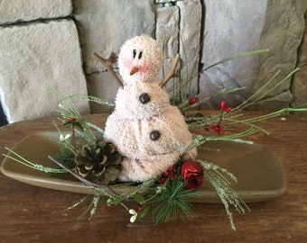 Chenille Snowman Centerpiece with Wood Tray and Holiday Candle Ring