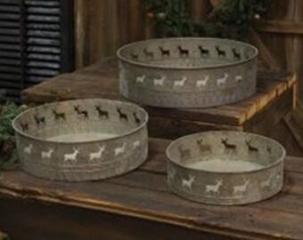 Set of 3 Reindeer Tins