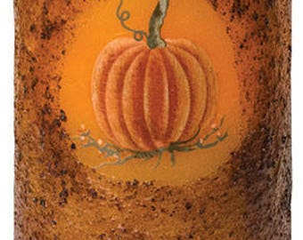 Flameless Pillar Candle with Rustic Pumpkin