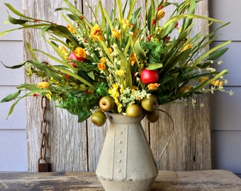 Summer Floral Arrangement with Yellow Flowers, Pip Berries and Faux Apples