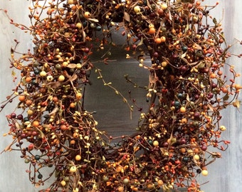 Fall Pip Berry Wreath in Mixed Fall Colors on Oval Grapevine Base